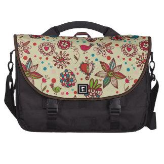 Pájaros, corazones y bolso retros lindos del orden bolsas de portatil