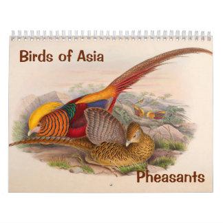 pájaros de 12 meses de Asia: Faisanes 2017 Calendario