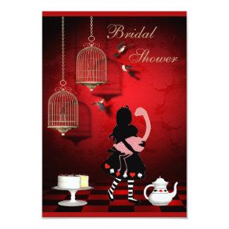 Pájaros de Alicia y del flamenco y ducha nupcial Invitación 8,9 X 12,7 Cm