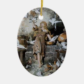 Pájaros de alimentación de Cenicienta del vintage Ornamento Para Arbol De Navidad