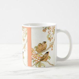 Pájaros de bebé y flores de Apple Taza De Café
