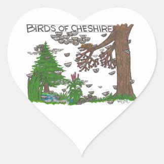 Pájaros de Cheshire Calcomanía Corazón Personalizadas