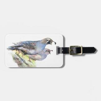 Pájaros de encargo de las codornices de California Etiqueta Para Equipaje