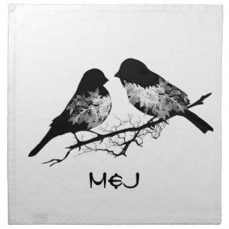 Pájaros de encargo del amor del nombre o del monog servilletas de papel