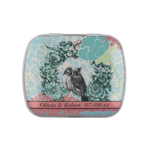 Pájaros de encargo del amor en la lata floral del  frascos de caramelos