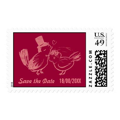 Pájaros de encargo del amor que casan reserva el sellos postales