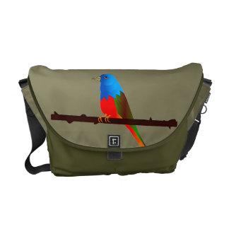 Pájaros de golpe ligero pintados en la bolsa de bolsa de mensajería