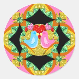 Pájaros de Kissy de la tarjeta del día de San Pegatina Redonda
