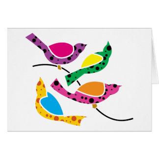 Pájaros de la canción del lunar - arte pop abstrac tarjetón
