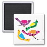 Pájaros de la canción del lunar - arte pop abstrac imán