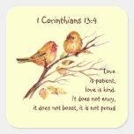 Pájaros de la compasión del amor del 13:4 de los C Calcomanías Cuadradases