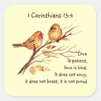 Pájaros de la compasión del amor del 13:4 de los pegatina cuadrada
