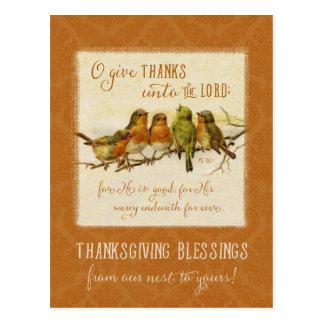 Pájaros de la escritura de la acción de gracias - postal