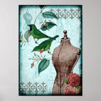 Pájaros de la forma del vestido del vintage póster