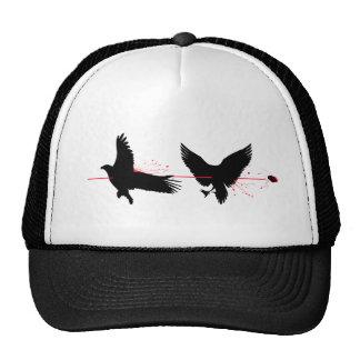 Pájaros de la matanza dos con una piedra gorro de camionero
