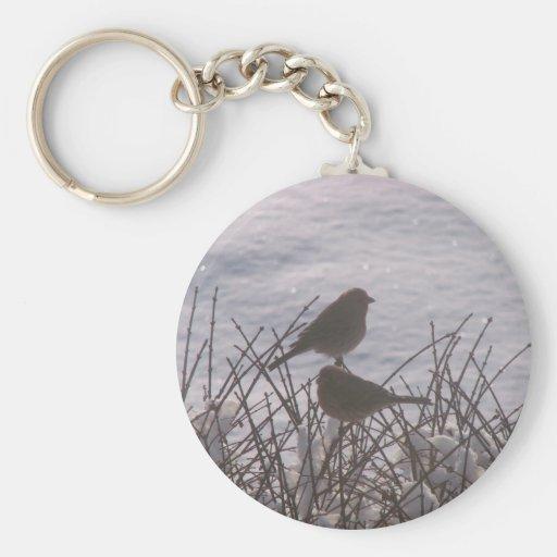 Pájaros de la nieve llaveros personalizados