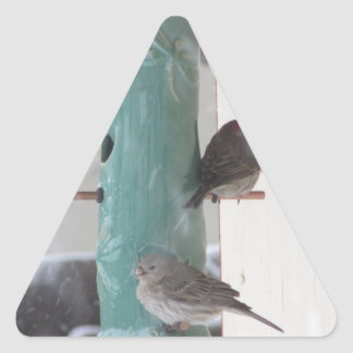 Pájaros de la nieve pegatina triangular