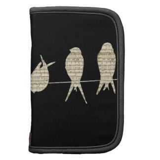 Pájaros de la nota musical de la partitura en un organizador
