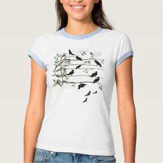 Pájaros de la nota musical - negro remera