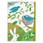 Pájaros de la primavera y tarjeta de felicitación