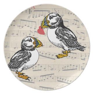 Pájaros de la tarjeta del día de San Valentín del Plato Para Fiesta