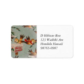 Pájaros de las Felices Navidad del vintage Etiquetas De Dirección