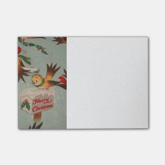 Pájaros de las Felices Navidad del vintage Post-it Nota