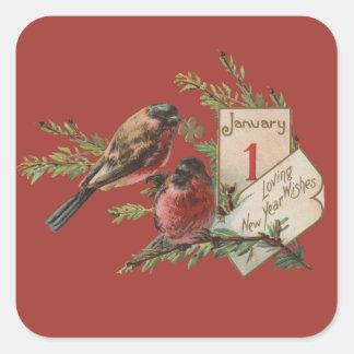Pájaros de los Años Nuevos del vintage Calcomania Cuadradas
