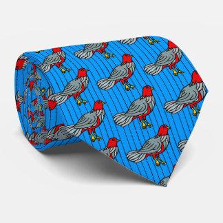 Pájaros de lujo en la tela a rayas (azul, carmesí, corbatas personalizadas