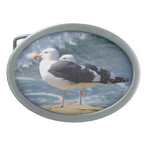 Pájaros de mar hebilla de cinturon oval