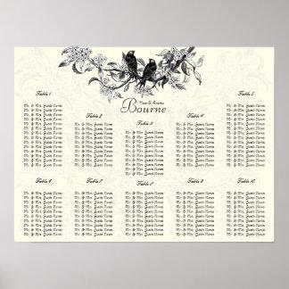 Pájaros de marfil del vintage que asientan números impresiones