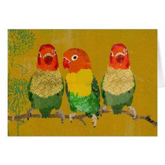 Pájaros de oro Notecard del amor del vintage