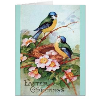 Pájaros de Pascua y tarjeta de felicitación del vi