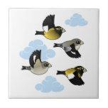Pájaros de tarde en vuelo tejas  ceramicas