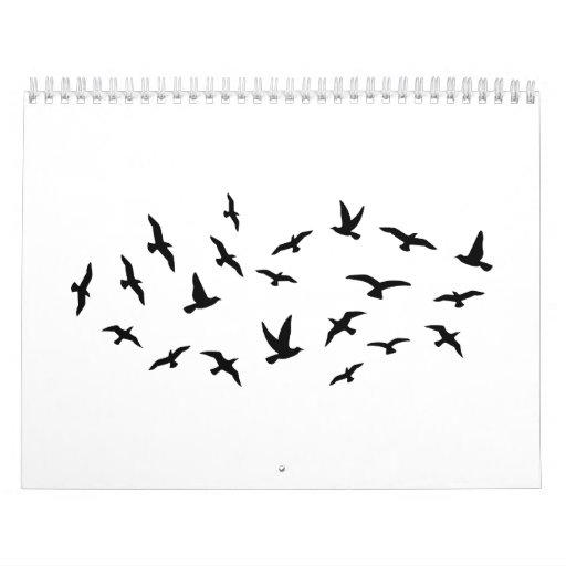 Pájaros de vuelo calendarios de pared