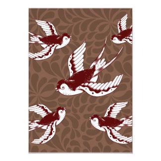 Pájaros de vuelo en modelo del damasco de Brown Invitación 12,7 X 17,8 Cm
