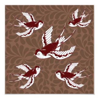 Pájaros de vuelo en modelo del damasco de Brown Invitación 13,3 Cm X 13,3cm