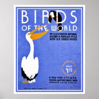 Pájaros de WPA de la publicidad del mundo Poster