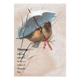 Pájaros debajo del paraguas azul tarjetas de visita grandes