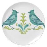 Pájaros decorativos azules plato de comida