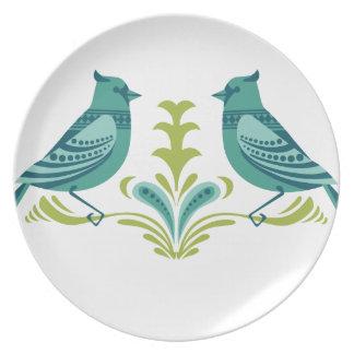 Pájaros decorativos azules platos