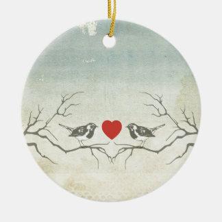 Pájaros del amor adorno navideño redondo de cerámica