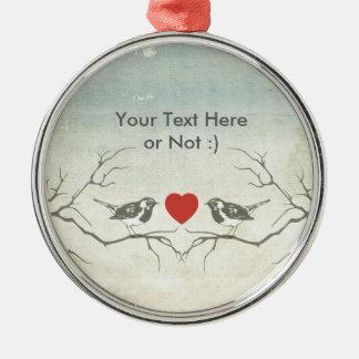 Pájaros del amor adorno navideño redondo de metal