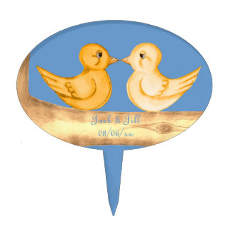 Pájaros del amor (amarillo) figura para tarta