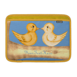 Pájaros del amor (amarillo) funda macbook air