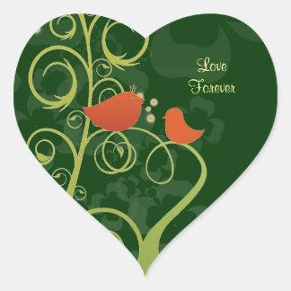 Pájaros del amor - amor para siempre pegatina en forma de corazón