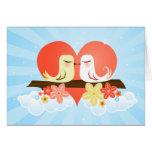 Pájaros del amor - azul tarjeta de felicitación