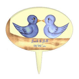 Pájaros del amor (azules) decoración de tarta