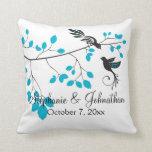 Pájaros del amor azules almohada