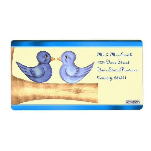 Pájaros del amor (azules) etiquetas de envío